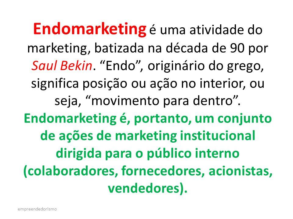 empreendedorismo Endomarketing é uma atividade do marketing, batizada na década de 90 por Saul Bekin.