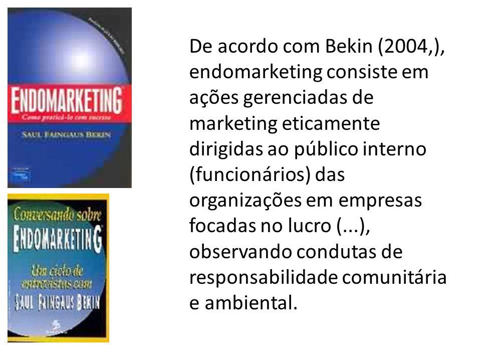 De acordo com Bekin (2004,), endomarketing consiste em ações gerenciadas de marketing eticamente dirigidas ao público interno (funcionários) das organizações em empresas focadas no lucro (...), observando condutas de responsabilidade comunitária e ambiental.