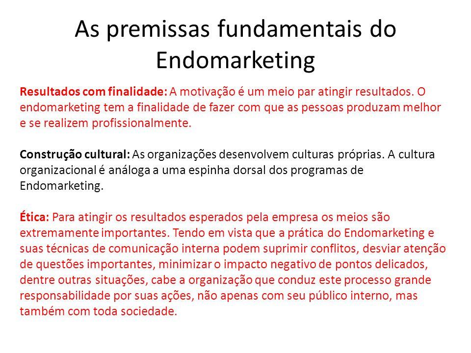 As premissas fundamentais do Endomarketing Resultados com finalidade: A motivação é um meio par atingir resultados.