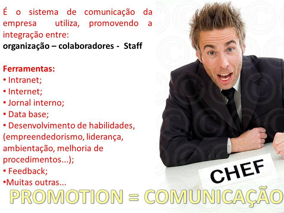 É o sistema de comunicação da empresa utiliza, promovendo a integração entre: organização – colaboradores - Staff Ferramentas: Intranet; Internet; Jornal interno; Data base; Desenvolvimento de habilidades, (empreendedorismo, liderança, ambientação, melhoria de procedimentos...); Feedback; Muitas outras...