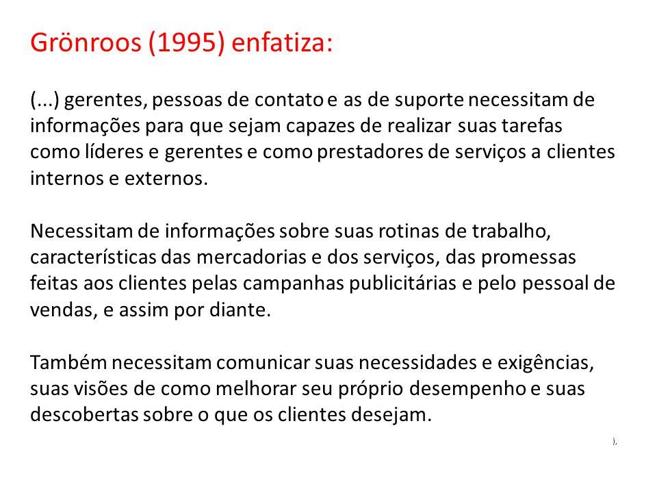 Grönroos (1995) enfatiza: (...) gerentes, pessoas de contato e as de suporte necessitam de informações para que sejam capazes de realizar suas tarefas como líderes e gerentes e como prestadores de serviços a clientes internos e externos.