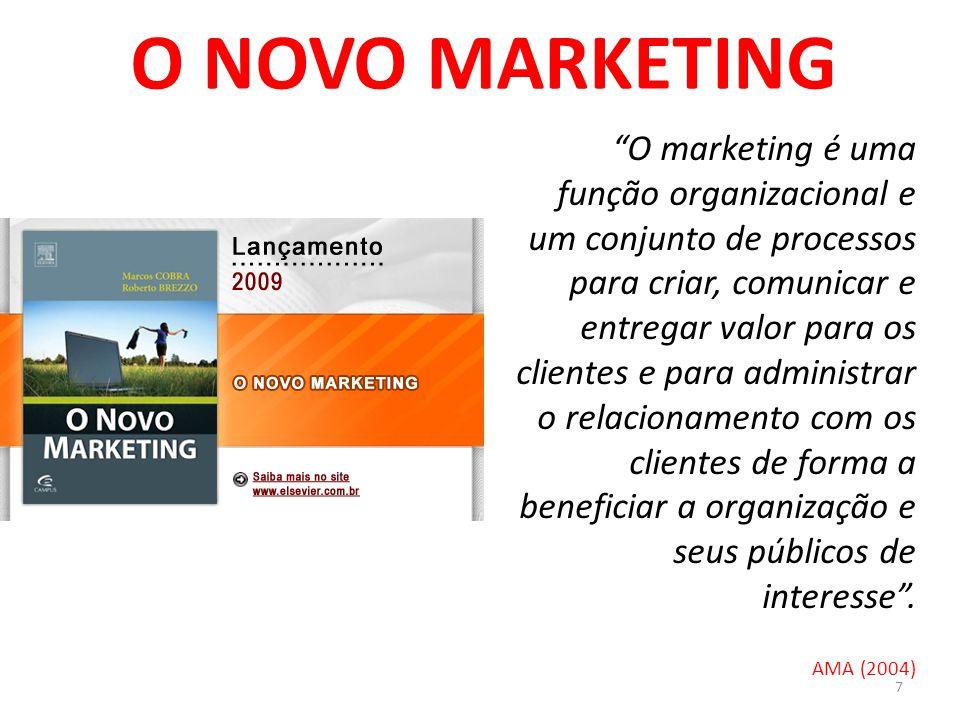 7 O NOVO MARKETING O marketing é uma função organizacional e um conjunto de processos para criar, comunicar e entregar valor para os clientes e para administrar o relacionamento com os clientes de forma a beneficiar a organização e seus públicos de interesse.
