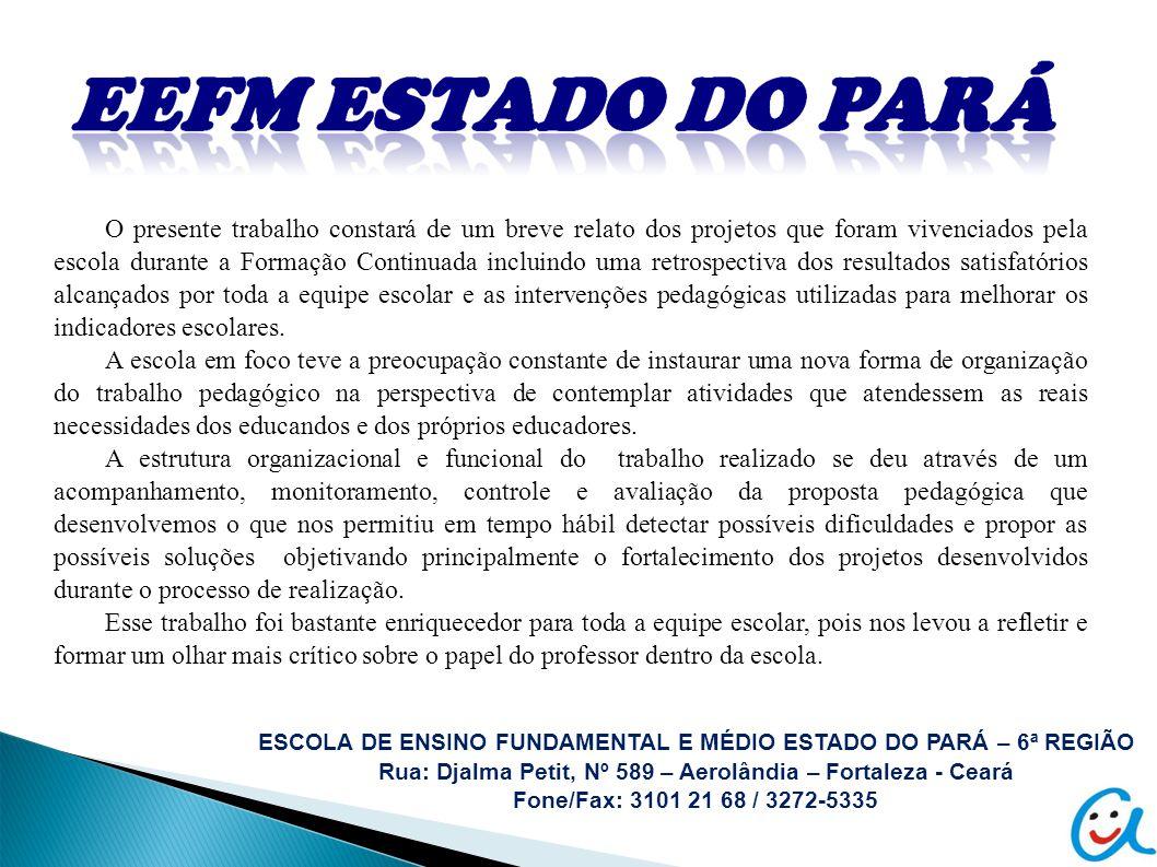 ESCOLA DE ENSINO FUNDAMENTAL E MÉDIO ESTADO DO PARÁ – 6ª REGIÃO Rua: Djalma Petit, Nº 589 – Aerolândia – Fortaleza - Ceará Fone/Fax: 3101 21 68 / 3272