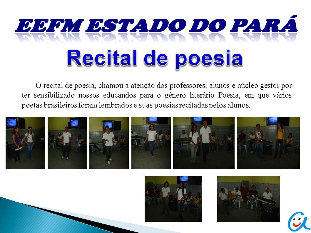 O recital de poesia, chamou a atenção dos professores, alunos e núcleo gestor por ter sensibilizado nossos educandos para o gênero literário Poesia, em que vários poetas brasileiros foram lembrados e suas poesias recitadas pelos alunos.