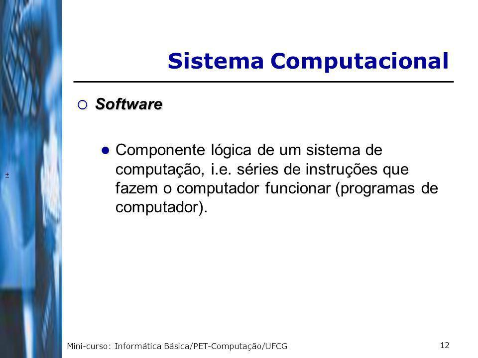 Mini-curso: Informática Básica/PET-Computação/UFCG 12 Software Software Componente lógica de um sistema de computação, i.e.