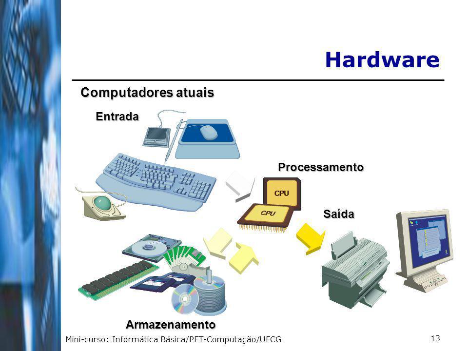 Mini-curso: Informática Básica/PET-Computação/UFCG 13EntradaProcessamento Armazenamento Saída Computadores atuais Hardware