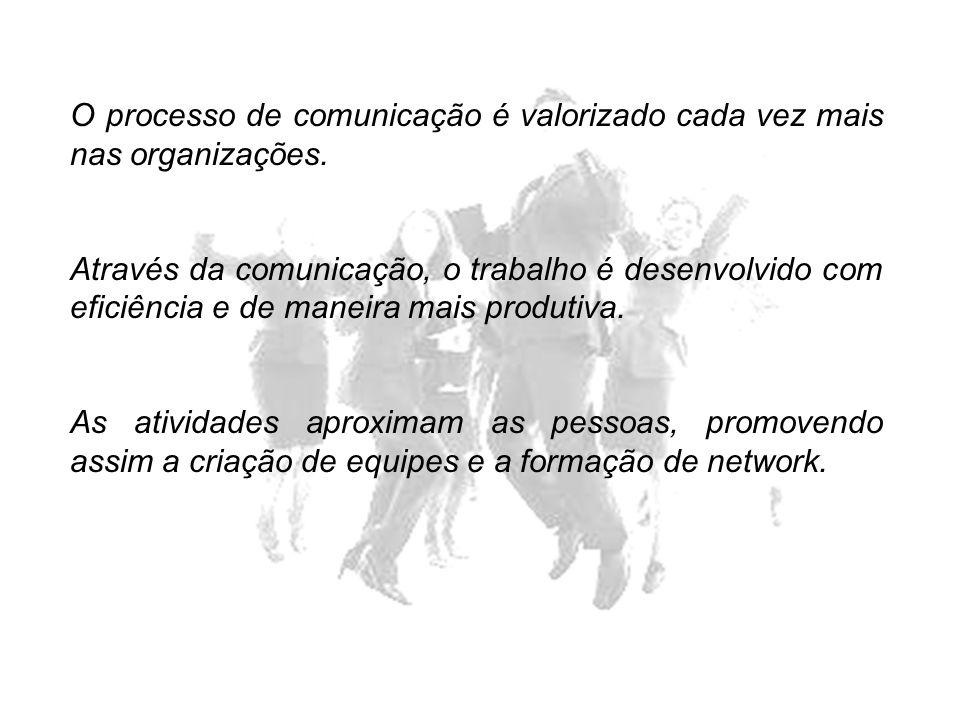 O processo de comunicação é valorizado cada vez mais nas organizações. Através da comunicação, o trabalho é desenvolvido com eficiência e de maneira m