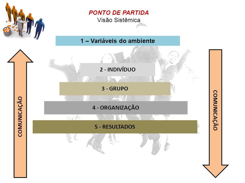 2 - INDIVÍDUO 3 - GRUPO 4 - ORGANIZAÇÃO 5 - RESULTADOS COMUNICAÇÃO PONTO DE PARTIDA Visão Sistêmica 1 – Variáveis do ambiente