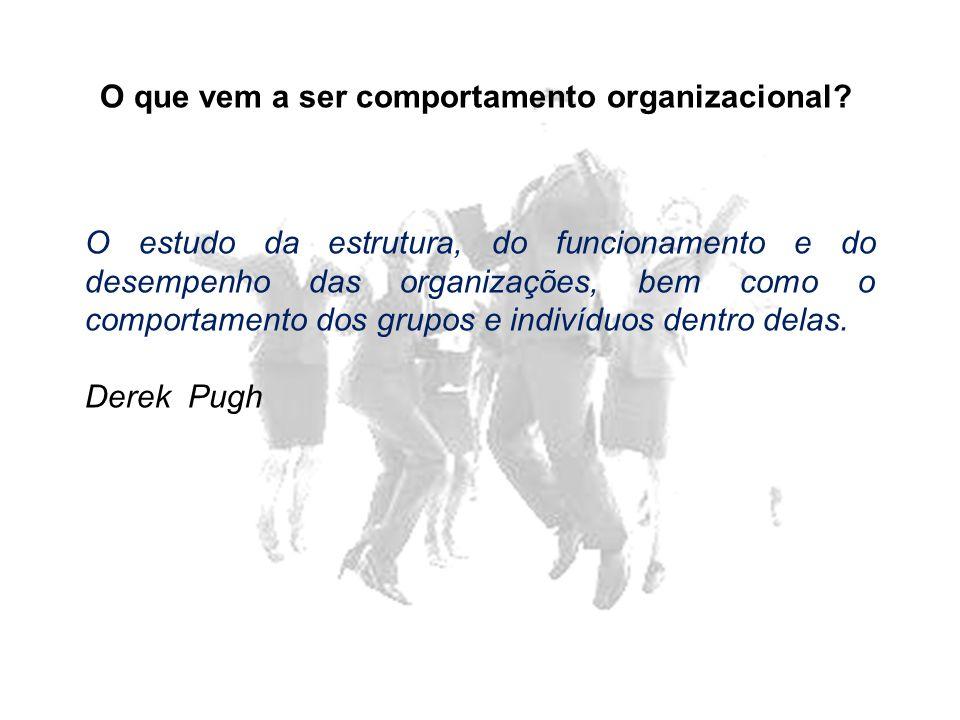 O que vem a ser comportamento organizacional? O estudo da estrutura, do funcionamento e do desempenho das organizações, bem como o comportamento dos g