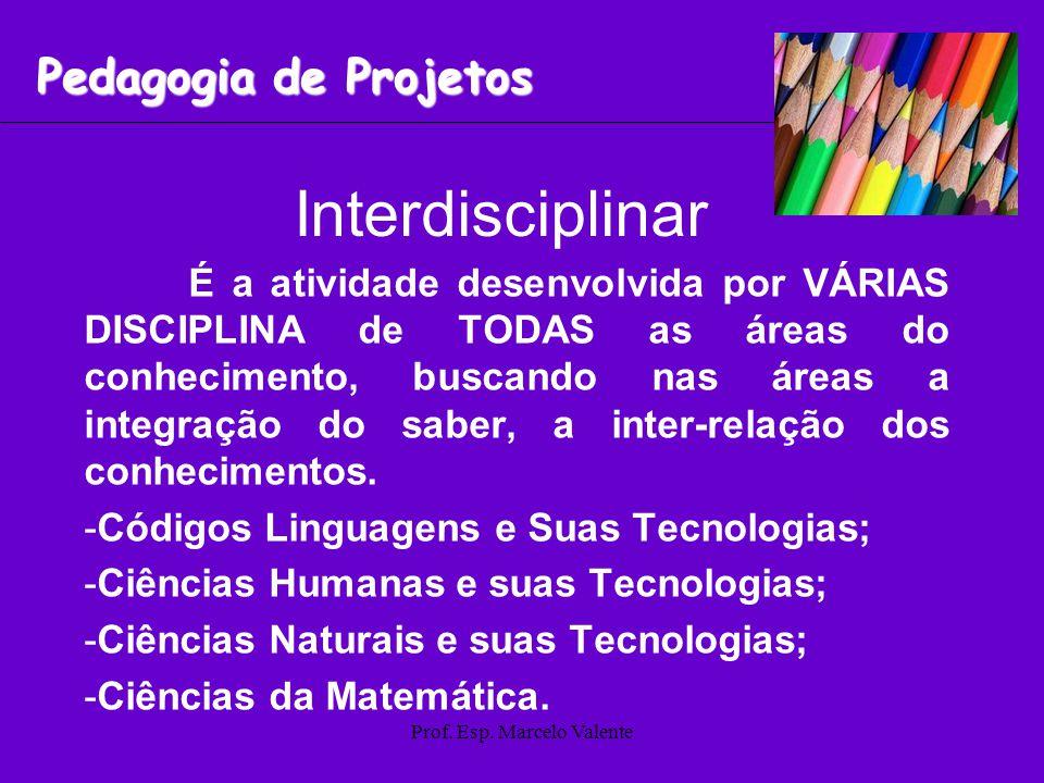 Prof. Esp. Marcelo Valente Interdisciplinar É a atividade desenvolvida por VÁRIAS DISCIPLINA de TODAS as áreas do conhecimento, buscando nas áreas a i
