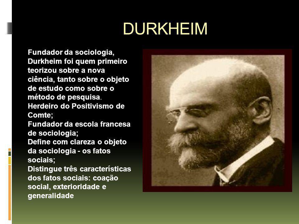 DURKHEIM Fundador da sociologia, Durkheim foi quem primeiro teorizou sobre a nova ciência, tanto sobre o objeto de estudo como sobre o método de pesqu