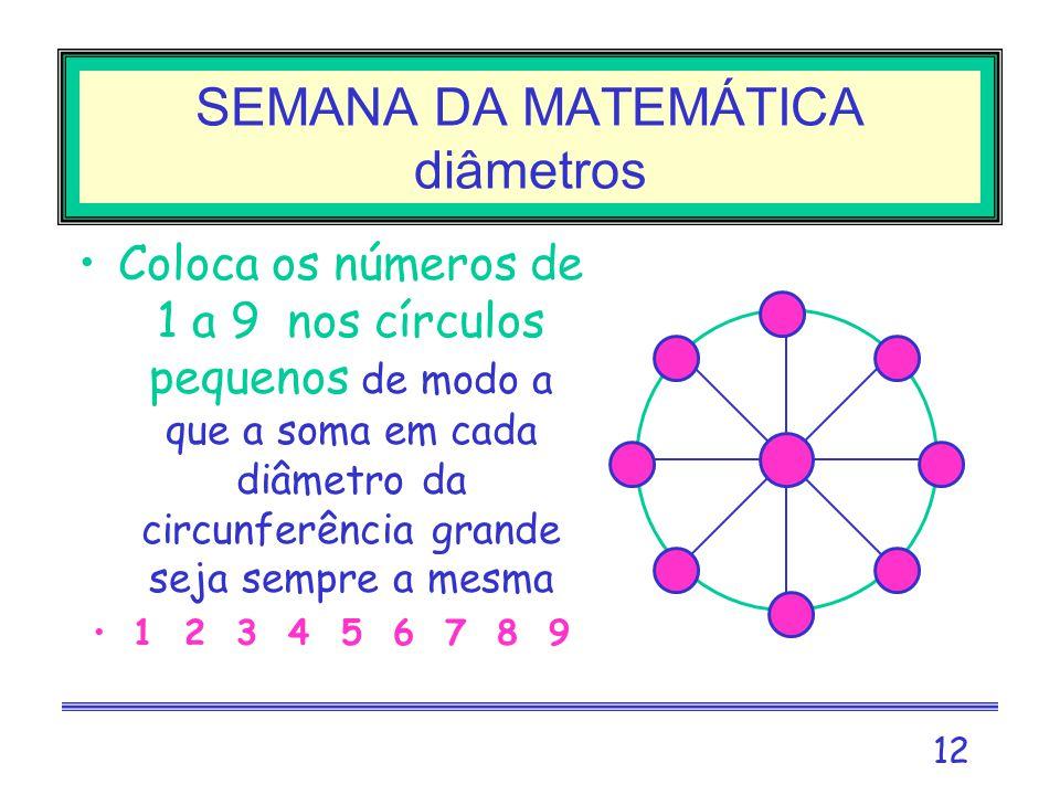 11 SEMANA DA MATEMÁTICA intersecções Coloca os números de 1 a 6 nos círculos pequenos de modo a que a soma em cada circunferência grande seja sempre a