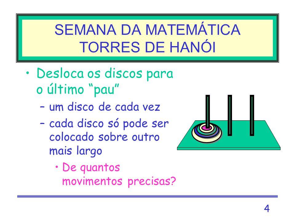 4 SEMANA DA MATEMÁTICA TORRES DE HANÓI Desloca os discos para o último pau –um disco de cada vez –cada disco só pode ser colocado sobre outro mais largo De quantos movimentos precisas?