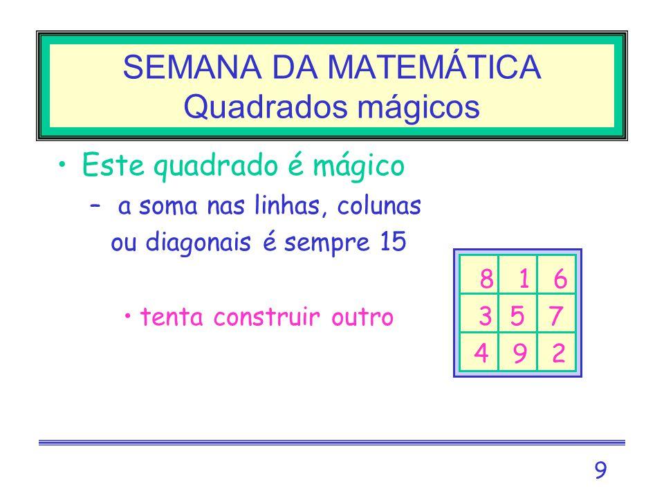 9 SEMANA DA MATEMÁTICA Quadrados mágicos Este quadrado é mágico – a soma nas linhas, colunas –ou diagonais é sempre 15 8 1 6 tenta construir outro 3 5 7 – 4 9 2