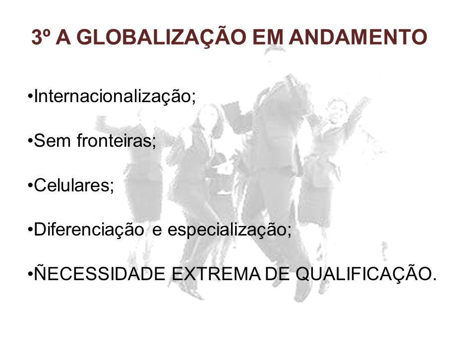3º A GLOBALIZAÇÃO EM ANDAMENTO Internacionalização; Sem fronteiras; Celulares; Diferenciação e especialização; ÑECESSIDADE EXTREMA DE QUALIFICAÇÃO.