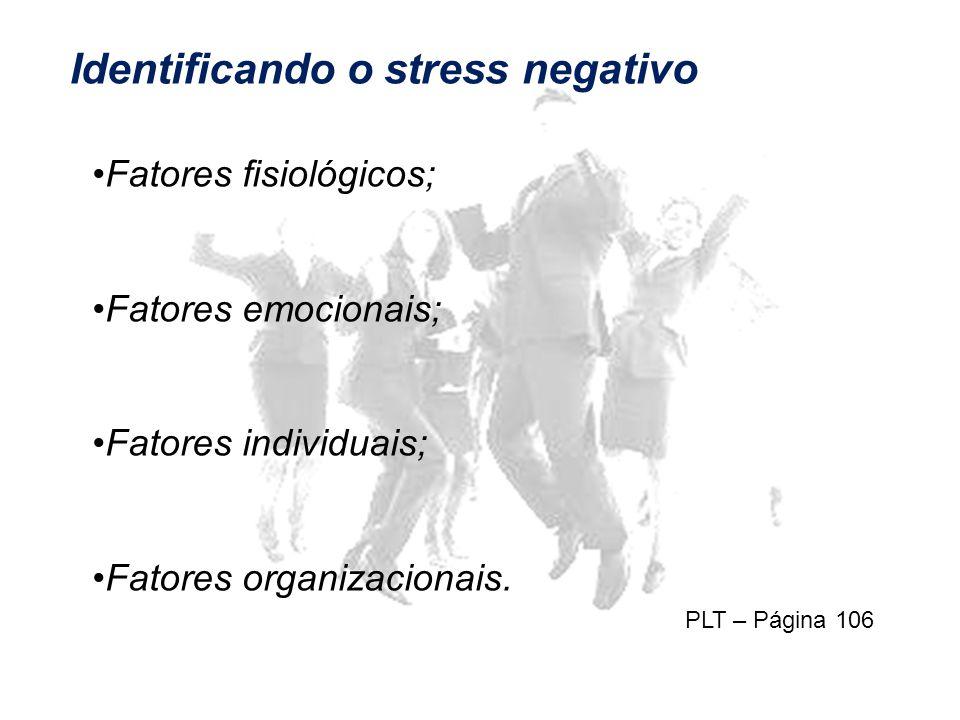 Identificando o stress negativo Fatores fisiológicos; Fatores emocionais; Fatores individuais; Fatores organizacionais.