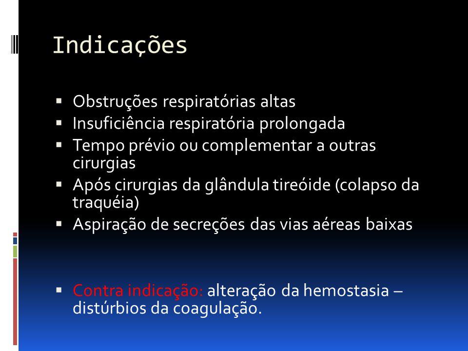 Indicações Obstruções respiratórias altas Insuficiência respiratória prolongada Tempo prévio ou complementar a outras cirurgias Após cirurgias da glândula tireóide (colapso da traquéia) Aspiração de secreções das vias aéreas baixas Contra indicação: alteração da hemostasia – distúrbios da coagulação.