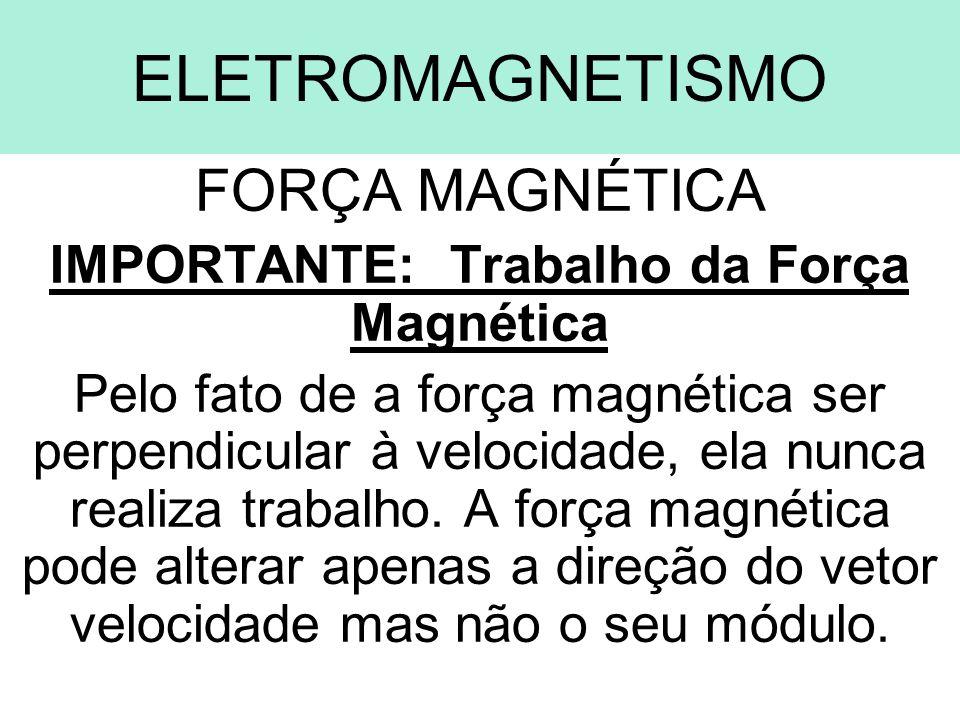 ELETROMAGNETISMO FORÇA MAGNÉTICA IMPORTANTE: Trabalho da Força Magnética Pelo fato de a força magnética ser perpendicular à velocidade, ela nunca real