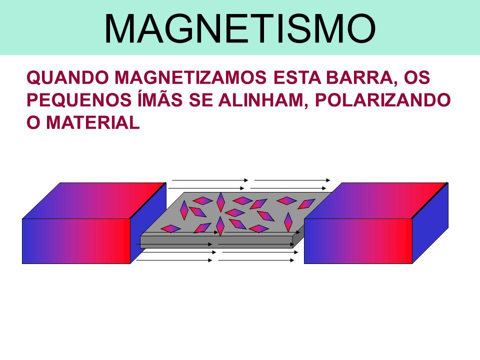 QUANDO MAGNETIZAMOS ESTA BARRA, OS PEQUENOS ÍMÃS SE ALINHAM, POLARIZANDO O MATERIAL MAGNETISMO