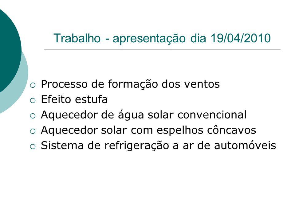 Trabalho - apresentação dia 19/04/2010 Processo de formação dos ventos Efeito estufa Aquecedor de água solar convencional Aquecedor solar com espelhos côncavos Sistema de refrigeração a ar de automóveis