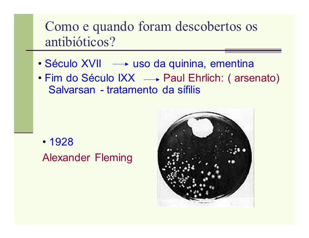 Como e quando foram descobertos os antibióticos? Século XVIIuso da quinina, ementina Fim do Século IXXPaul Ehrlich: ( arsenato) Salvarsan - tratamento