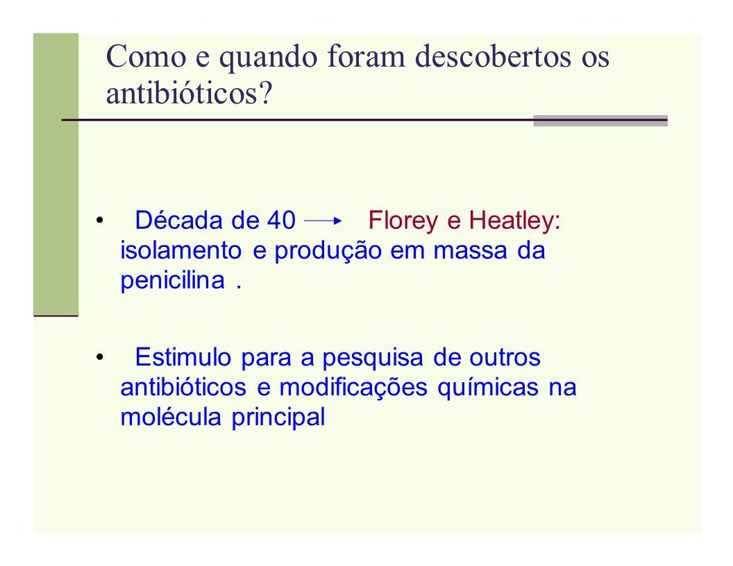 Como e quando foram descobertos os antibióticos? Década de 40 Florey e Heatley: isolamento e produção em massa da penicilina. Estimulo para a pesquisa