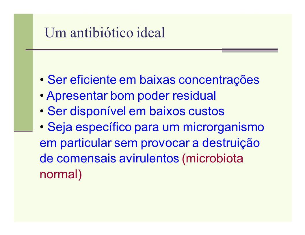 Um antibiótico ideal Ser eficiente em baixas concentrações Apresentar bom poder residual Ser disponível em baixos custos Seja específico para um micro