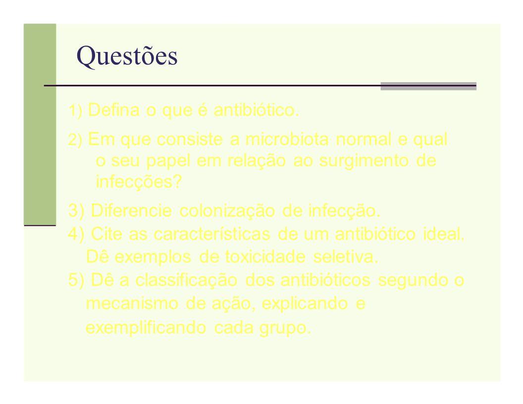 Questões 1) Defina o que é antibiótico. 2) Em que consiste a microbiota normal e qual o seu papel em relação ao surgimento de infecções? 3) Diferencie