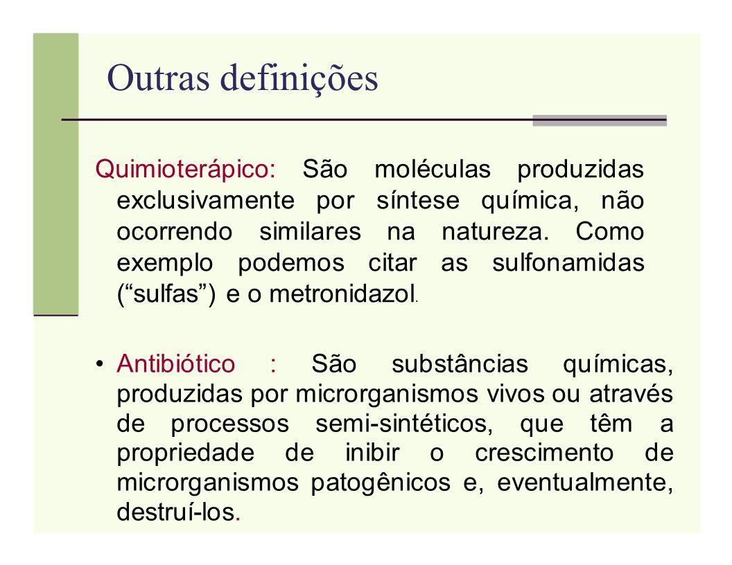 Outras definições Quimioterápico: São moléculas produzidas exclusivamente por síntese química, não ocorrendo similares na natureza. Como exemplo podem