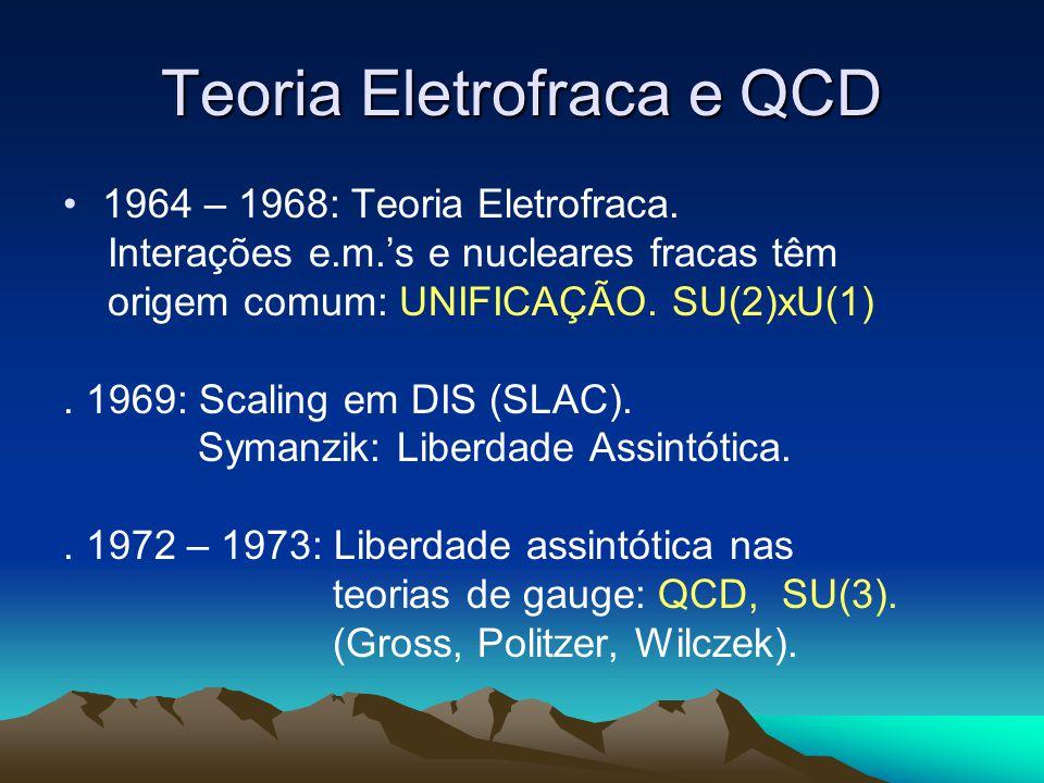 Teoria Eletrofraca e QCD 1964 – 1968: Teoria Eletrofraca. Interações e.m.s e nucleares fracas têm origem comum: UNIFICAÇÃO. SU(2)xU(1). 1969: Scaling