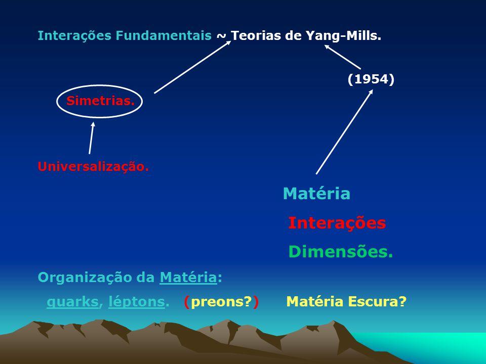 Interações Fundamentais ~ Teorias de Yang-Mills. (1954) Simetrias. Universalização. Matéria Interações Dimensões. Organização da Matéria: quarks, lépt