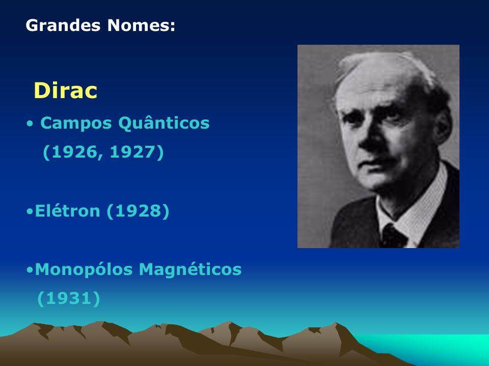 Grandes Nomes: Dirac Campos Quânticos (1926, 1927) Elétron (1928) Monopólos Magnéticos (1931)