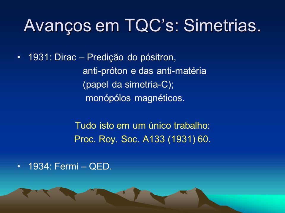 Avanços em TQCs: Simetrias. 1931: Dirac – Predição do pósitron, anti-próton e das anti-matéria (papel da simetria-C); monópólos magnéticos. Tudo isto