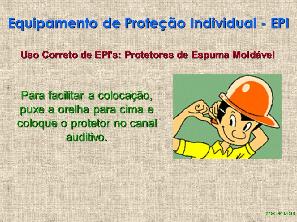Equipamento de Proteção Individual - EPI Uso Correto de EPI's: Protetores de Espuma Moldável Para facilitar a colocação, puxe a orelha para cima e col