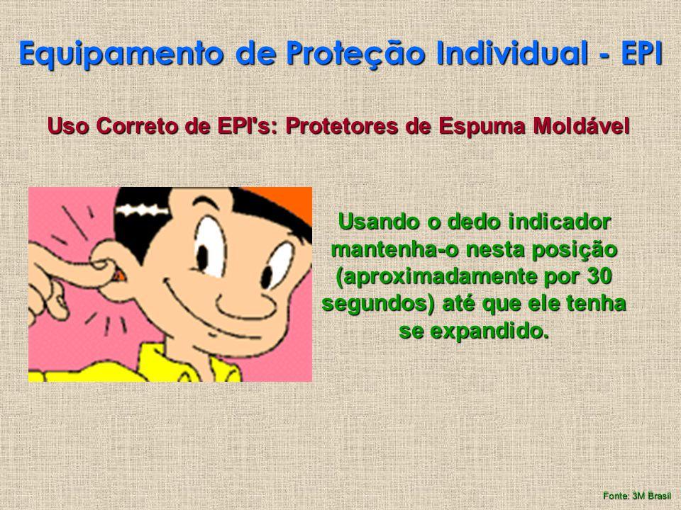 Equipamento de Proteção Individual - EPI Uso Correto de EPI's: Protetores de Espuma Moldável Usando o dedo indicador mantenha-o nesta posição (aproxim