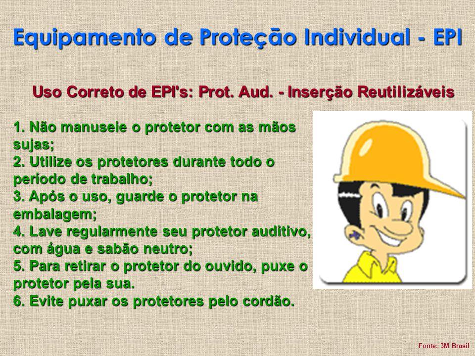 Equipamento de Proteção Individual - EPI Uso Correto de EPI's: Prot. Aud. - Inserção Reutilizáveis 1. Não manuseie o protetor com as mãos sujas; 2. Ut