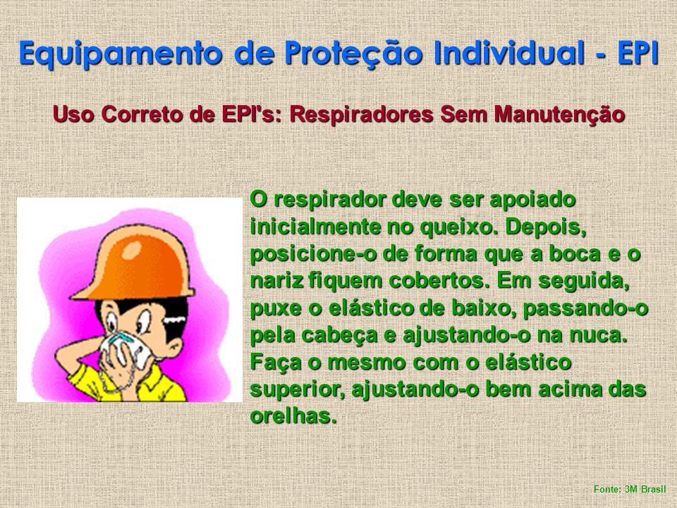 Equipamento de Proteção Individual - EPI Uso Correto de EPI's: Respiradores Sem Manutenção O respirador deve ser apoiado inicialmente no queixo. Depoi