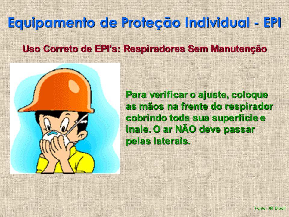 Equipamento de Proteção Individual - EPI Uso Correto de EPI's: Respiradores Sem Manutenção Para verificar o ajuste, coloque as mãos na frente do respi