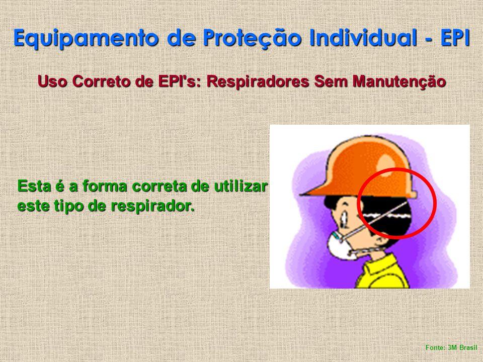 Equipamento de Proteção Individual - EPI Uso Correto de EPI's: Respiradores Sem Manutenção Esta é a forma correta de utilizar este tipo de respirador.