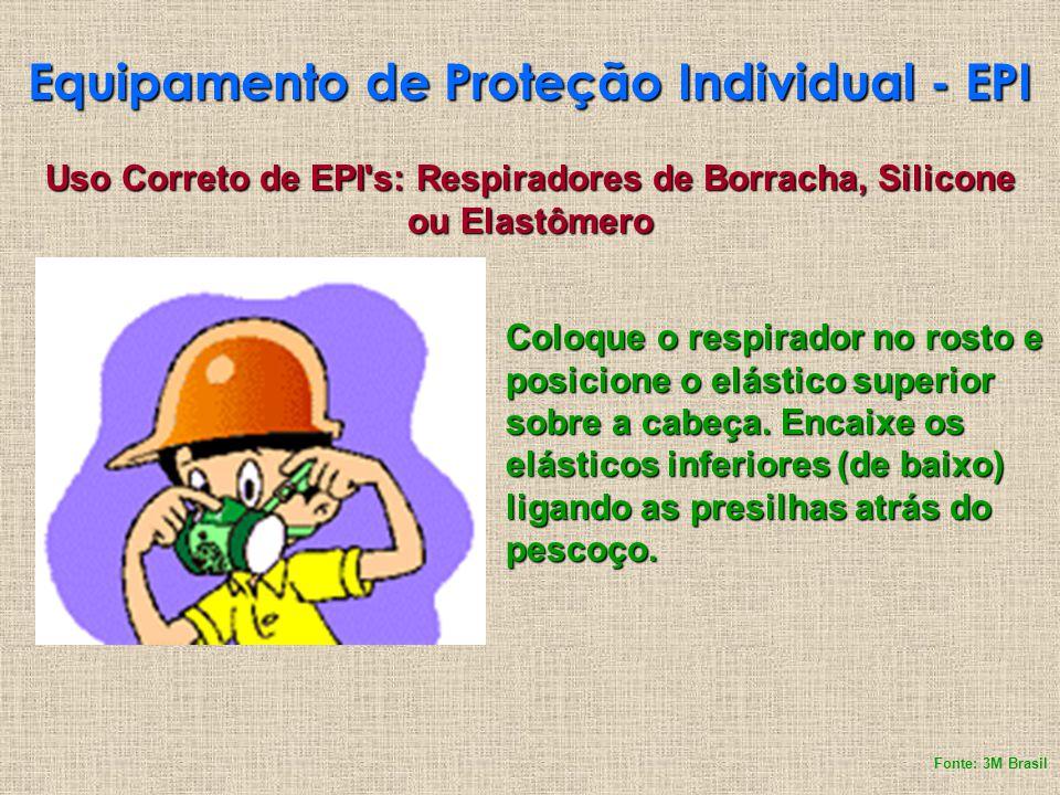 Equipamento de Proteção Individual - EPI Coloque o respirador no rosto e posicione o elástico superior sobre a cabeça. Encaixe os elásticos inferiores
