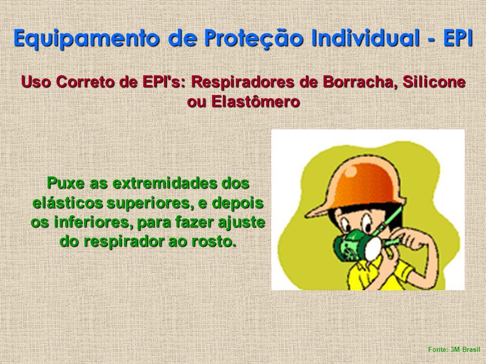 Equipamento de Proteção Individual - EPI Puxe as extremidades dos elásticos superiores, e depois os inferiores, para fazer ajuste do respirador ao ros