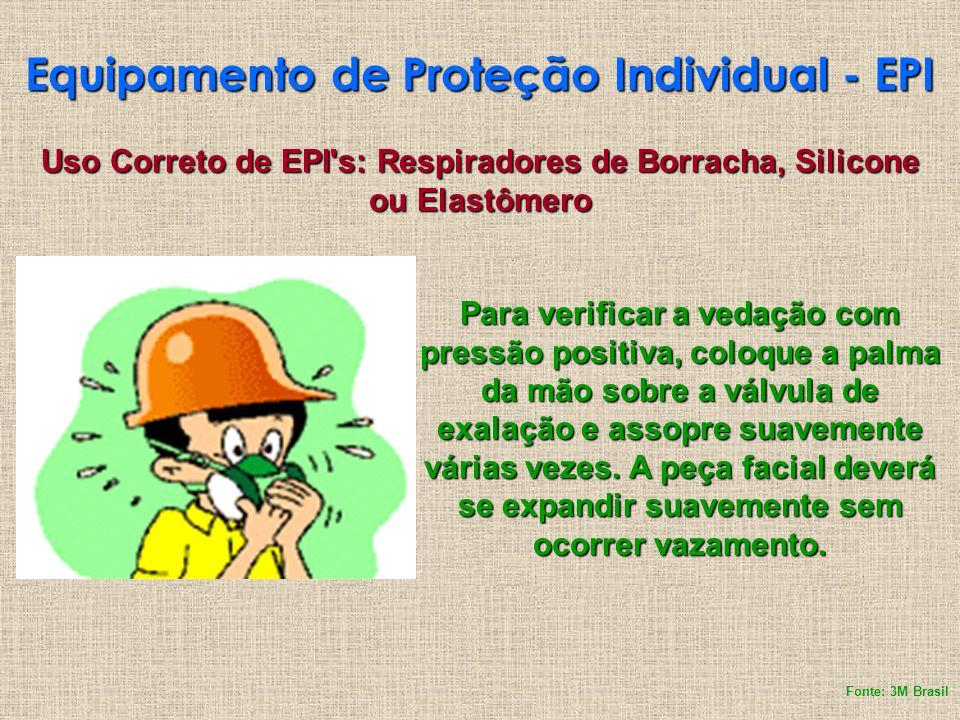 Equipamento de Proteção Individual - EPI Uso Correto de EPI's: Respiradores de Borracha, Silicone ou Elastômero Para verificar a vedação com pressão p