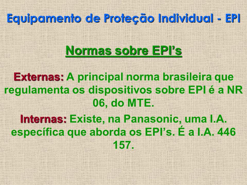 Normas sobre EPIs Externas: Externas: A principal norma brasileira que regulamenta os dispositivos sobre EPI é a NR 06, do MTE. Internas: Internas: Ex