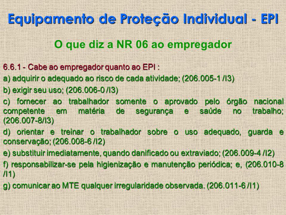 O que diz a NR 06 ao empregador 6.6.1 - Cabe ao empregador quanto ao EPI : a) adquirir o adequado ao risco de cada atividade; (206.005-1 /I3) b) exigi