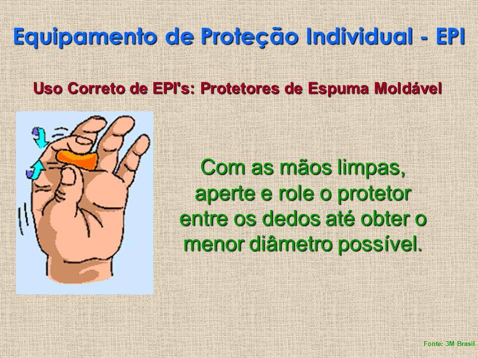 Uso Correto de EPI's: Protetores de Espuma Moldável Com as mãos limpas, aperte e role o protetor entre os dedos até obter o menor diâmetro possível. F