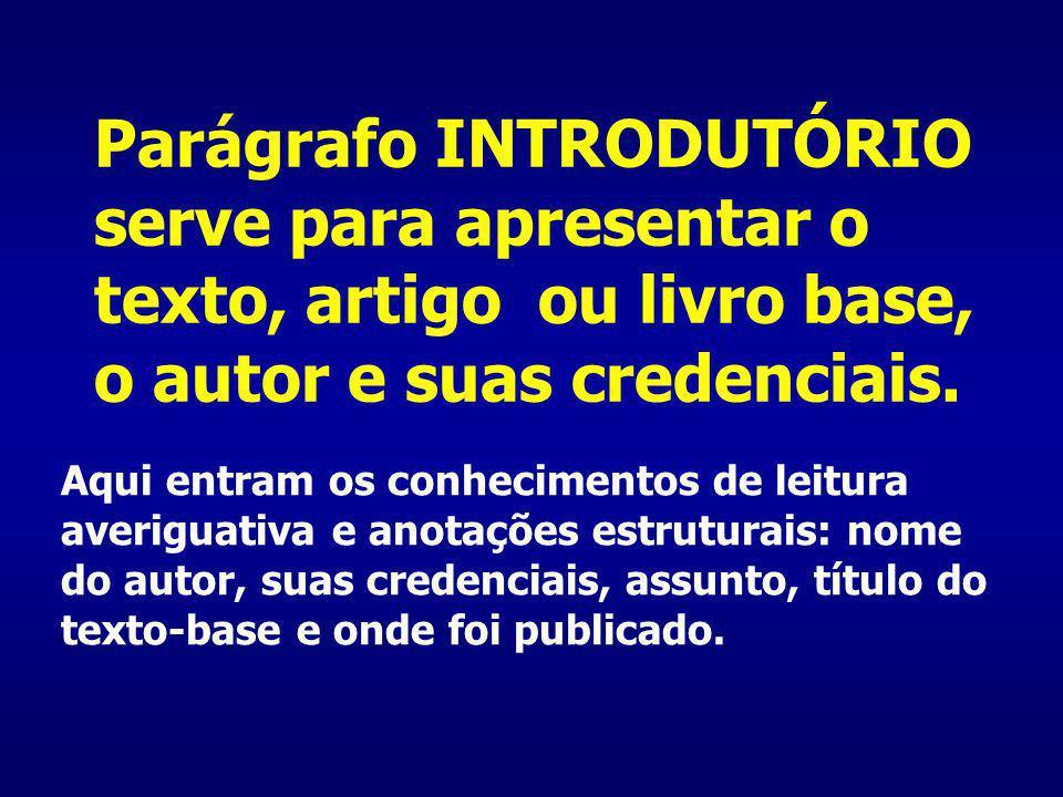 Parágrafo INTRODUTÓRIO serve para apresentar o texto, artigo ou livro base, o autor e suas credenciais.