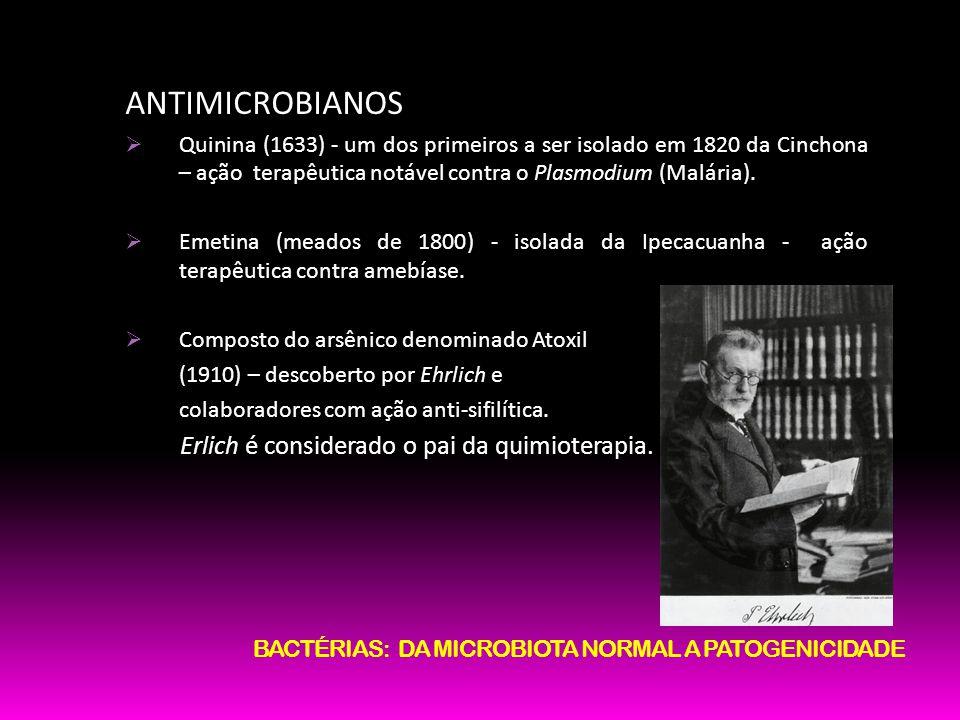 ANTIMICROBIANOS Quinina (1633) - um dos primeiros a ser isolado em 1820 da Cinchona – ação terapêutica notável contra o Plasmodium (Malária). Emetina