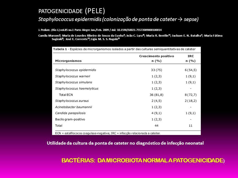 PATOGENICIDADE (PELE) Staphylococcus epidermidis (colonização de ponta de cateter sepse) J. Pediatr. (Rio J.) vol.85 no.1 Porto Alegre Jan./Feb. 2009