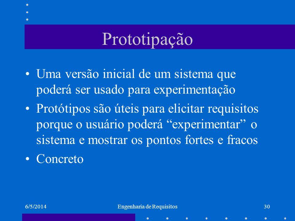 6/5/2014Engenharia de Requisitos31 Tipos de prototipagem Descartável –Protótipo serve para requisitos e é descartado um outro sistema é implementado depois; Evolucionária –usado no ciclo espiral –Os requisitos vão aparecendo conforme o usuário está utilizando o sistema