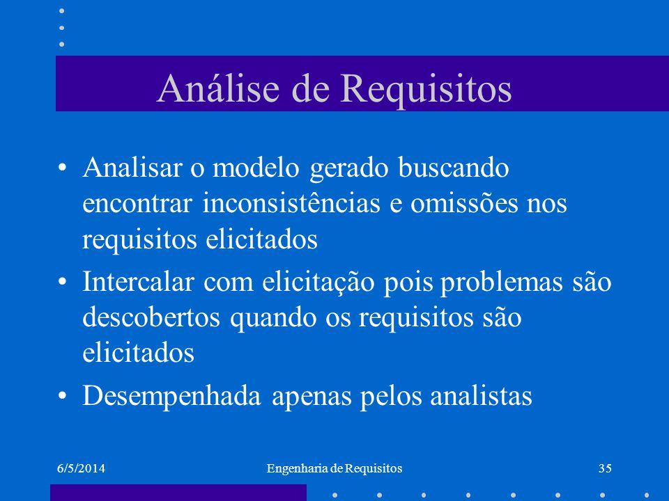 6/5/2014Engenharia de Requisitos36 Validação Com a ajuda dos clientes/usuários, busca-se validar ou seja, confirmar o conhecimento adquirido.